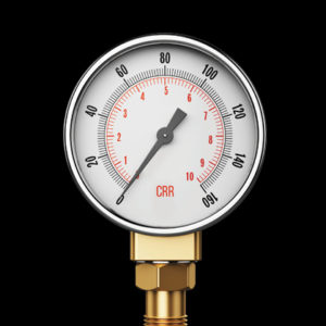 Photo of a pressure gauge reading zero